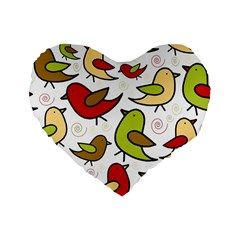 Decorative birds pattern Standard 16  Premium Heart Shape Cushions