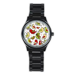 Decorative birds pattern Stainless Steel Round Watch
