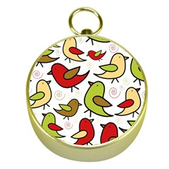 Decorative birds pattern Gold Compasses