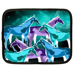 Horses Under A Galaxy Netbook Sleeve (large)