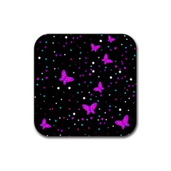 Pink butterflies  Rubber Square Coaster (4 pack)