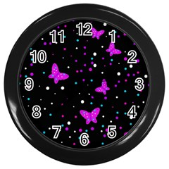 Pink butterflies  Wall Clocks (Black)