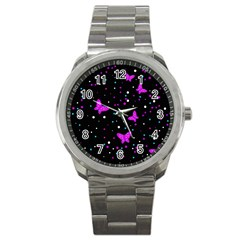 Pink butterflies  Sport Metal Watch