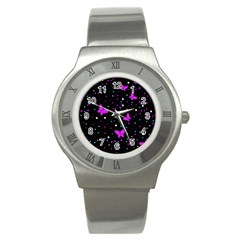 Pink butterflies  Stainless Steel Watch