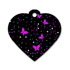 Pink butterflies  Dog Tag Heart (One Side)