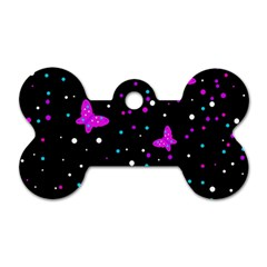Pink butterflies  Dog Tag Bone (Two Sides)
