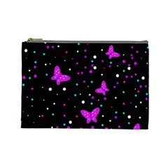 Pink butterflies  Cosmetic Bag (Large)