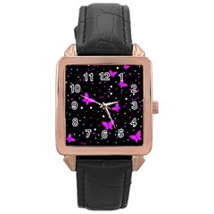 Pink butterflies  Rose Gold Leather Watch