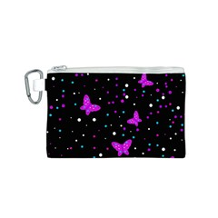 Pink butterflies  Canvas Cosmetic Bag (S)