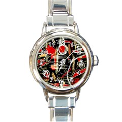 Artistic abstract pattern Round Italian Charm Watch
