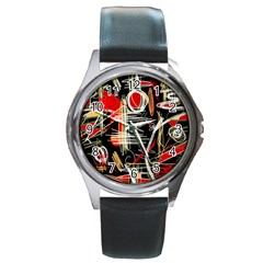 Artistic abstract pattern Round Metal Watch