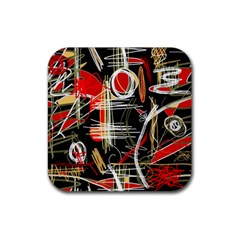 Artistic abstract pattern Rubber Square Coaster (4 pack)