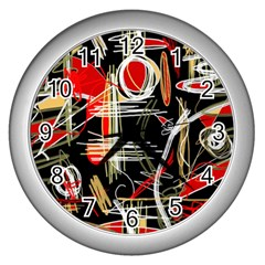 Artistic abstract pattern Wall Clocks (Silver)