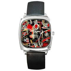Artistic abstract pattern Square Metal Watch