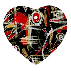 Artistic abstract pattern Heart Ornament (2 Sides)
