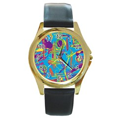 Colorful abstract pattern Round Gold Metal Watch