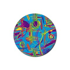 Colorful abstract pattern Rubber Coaster (Round)