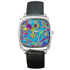 Colorful abstract pattern Square Metal Watch