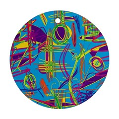 Colorful abstract pattern Round Ornament (Two Sides)