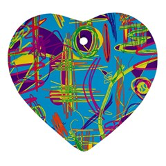 Colorful abstract pattern Heart Ornament (2 Sides)