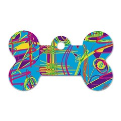 Colorful abstract pattern Dog Tag Bone (One Side)
