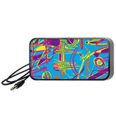 Colorful abstract pattern Portable Speaker (Black)