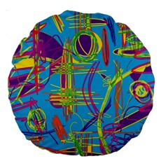 Colorful abstract pattern Large 18  Premium Round Cushions