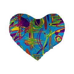 Colorful abstract pattern Standard 16  Premium Heart Shape Cushions