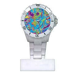 Colorful abstract pattern Plastic Nurses Watch