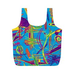 Colorful abstract pattern Full Print Recycle Bags (M)