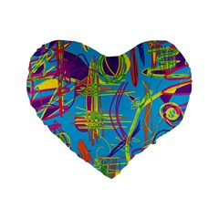 Colorful abstract pattern Standard 16  Premium Flano Heart Shape Cushions