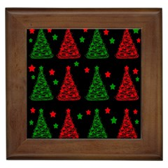 Decorative Christmas trees pattern Framed Tiles