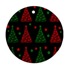 Decorative Christmas trees pattern Ornament (Round)