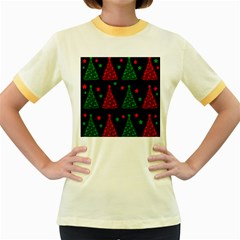Decorative Christmas trees pattern Women s Fitted Ringer T-Shirts