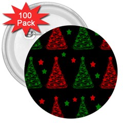 Decorative Christmas trees pattern 3  Buttons (100 pack)