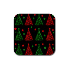 Decorative Christmas trees pattern Rubber Coaster (Square)