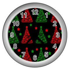 Decorative Christmas trees pattern Wall Clocks (Silver)