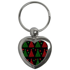 Decorative Christmas trees pattern Key Chains (Heart)