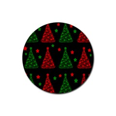 Decorative Christmas trees pattern Rubber Round Coaster (4 pack)