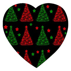 Decorative Christmas trees pattern Jigsaw Puzzle (Heart)