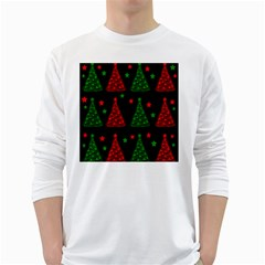 Decorative Christmas trees pattern White Long Sleeve T-Shirts