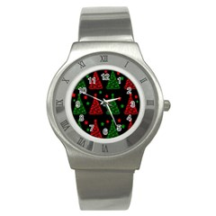 Decorative Christmas trees pattern Stainless Steel Watch