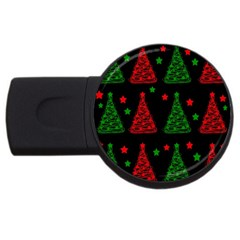 Decorative Christmas trees pattern USB Flash Drive Round (4 GB)