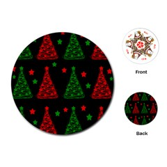 Decorative Christmas trees pattern Playing Cards (Round)