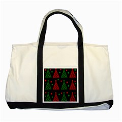 Decorative Christmas trees pattern Two Tone Tote Bag