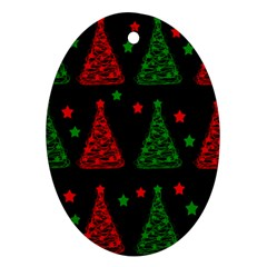 Decorative Christmas trees pattern Oval Ornament (Two Sides)
