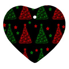 Decorative Christmas trees pattern Heart Ornament (2 Sides)