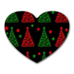 Decorative Christmas trees pattern Heart Mousepads