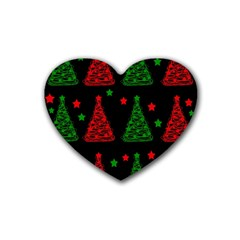 Decorative Christmas trees pattern Heart Coaster (4 pack)