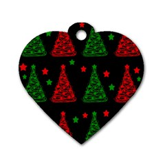 Decorative Christmas trees pattern Dog Tag Heart (Two Sides)